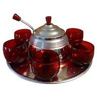 Art Deco Ruby Saturn Punch Bowl Set