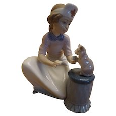 "Lladro ""Loving Care"" Nurse with Kitten Figurine #6087"