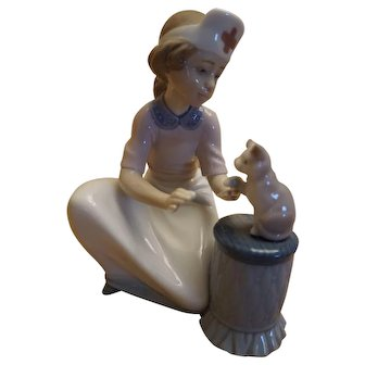 "Lladro ""Loving Care"" Nurse with Kitten Figurine #6087"