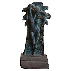 "Art Nouveau Cast Iron Bronze ""EVE"" Bookends"