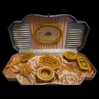 Vintage Celluloid Dresser Set with Box