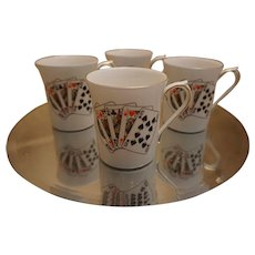 Set of 4 Queen's Bone China Card Player Mugs