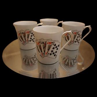 Set of 4 Queen's Bone China Card Player Mugs