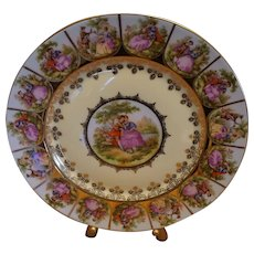 "Fragonard Hand Painted ""Love Story"" Display Plate Blue Beehive mark Bavaria"