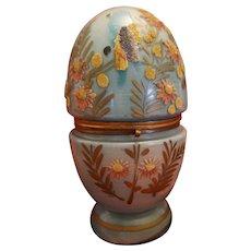 Vintage Czechoslovakia Coralene Glass Egg Cordial Set