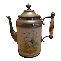 Manning & Bowman Co. Enamel & Pewter Graniteware Coffee Pot
