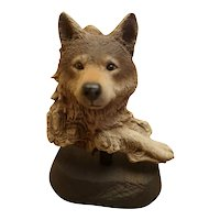 "Rick Cain Early Limited Edition ""Waiting Wolf"" sculpture"