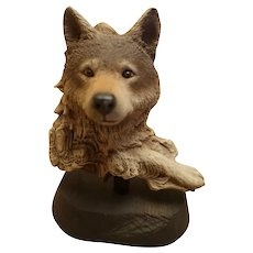 """Rick Cain Early Limited Edition """"Waiting Wolf"""" sculpture"""