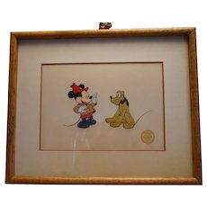 "Disney Mickey & Pluto Serigraph-Cel ""the Pointer"""