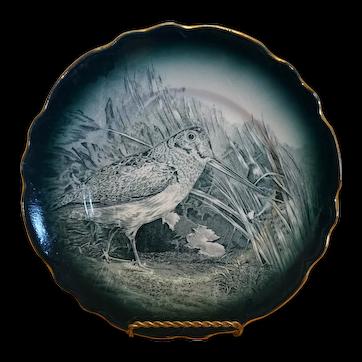 """1907 Buffalo Pottery Woodcock Plate - 9"""""""