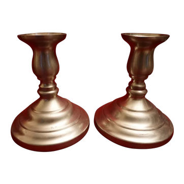 Pair Preisner Weighted Pewter Candle Holders