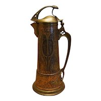 "Art Nouveau 13.5"" Mixed Metal Ewer Pitcher"