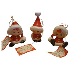 Set Of 3 Vintage Lefton Santa Kins Ornaments