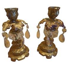Vintage Crystal and Metal Candle Holders
