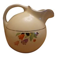 "Hall China ""Crocus"" Ball Pitcher Jug With Platinum Trim"