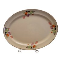 "Hall China ""Crocus"" Oval Serving Platter - Platinum Trim"