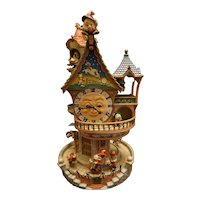 "Rare Enesco ""The Enchanted Clocktower"" Illuminated Mechanical Musical Figural"