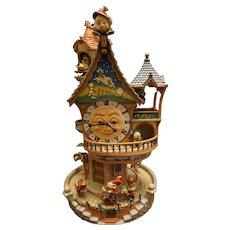 "Rare Enesco ""The Enchanted Clocktower"" Illuminated Mechanical Musical Figural"