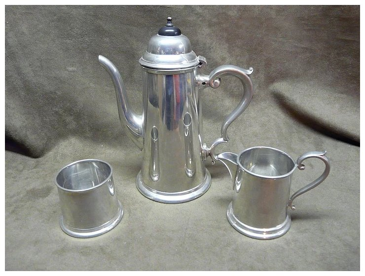 Viners Of Sheffield English Pewter Coffee Set Happy Hound Antiques