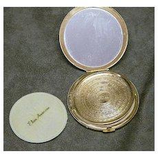Elgin American Gold Tone Compact With Original Box/Puff