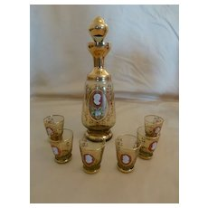 Unique Vintage Bohemian Glass Cameo Decanter Set