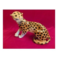 Royal Dux Porcelain Snarling Leopard Figurine