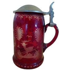 Ruby Cut  To Clear Glass Stag Stein
