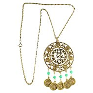 Goldette Asian Motif Vintage Beaded Pendant Necklace