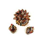 Juliana Topaz Rhinestone Brooch and Earrings Vintage Set
