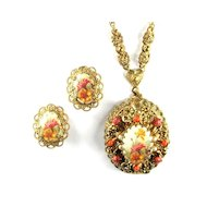 Flower Pendant Necklace and Earrings Vintage Set