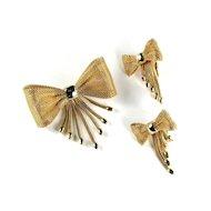 Lorraine Marsel Mesh Bow Vintage Brooch Earrings
