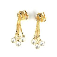 Vintage Crystal Rhinestone Dangles Long Earrings