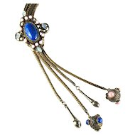 Victorian Revival Blue Pink Opal Slide Chain Vintage Necklace