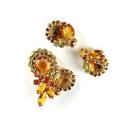 DeLizza and Elster Juliana Topaz Givre Rhinestone Brooch and Earrings