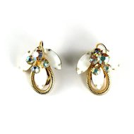 DeLizza and Elster Juliana White Flower Motif Earrings