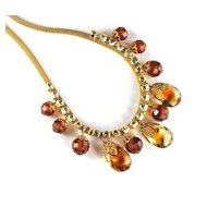 DeLizza and Elster Juliana Topaz Colored Bead Mesh Necklace