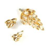 Crystal Rhinestone Leaf Motif Brooch and Earrings