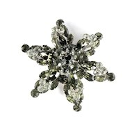Gray Crystal Rhinestone Six Pointed Star Brooch