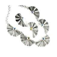 Eloxal Aluminum AB Rhinestone Pleated Fan Necklace and Earrings