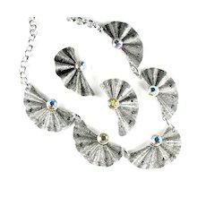 Eloxal Aluminum Rhinestone Pleated Fan Necklace and Earrings
