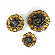 Pomerantz Yellow Flower Brooches Vintage Set