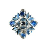 Blue Givre Art Glass Rhinestone Brooch