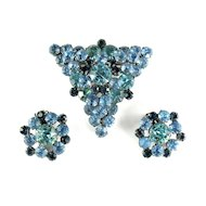 DeLizza and Elster Juliana Shades of Blue Rhinestone Brooch and Earrings