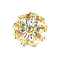 AB Crystal Rhinestone Flower Brooch
