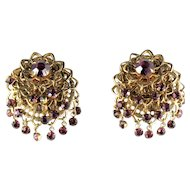Vintage Amethyst Rhinestones Filigree Earrings