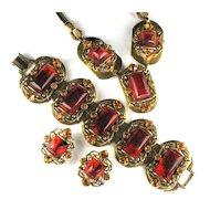 Selro Root Beer Rhinestone Necklace, Bracelet and Earrings Vintage Set