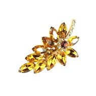 DeLizza and Elster Juliana Topaz Rhinestone Leaf Brooch