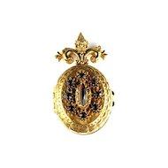 Florenza Red Photo Locket Vintage Pin