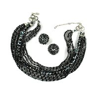 Black Iridescent Bead Necklace and Earrings