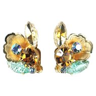 Aqua Art Glass Rhinestone Metal Flower Earrings